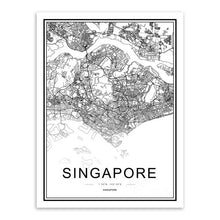 Black and White World City Map Posters