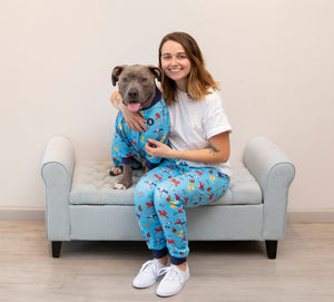 Blue 'SUPER PIBBLE' Unisex Pajama Pants