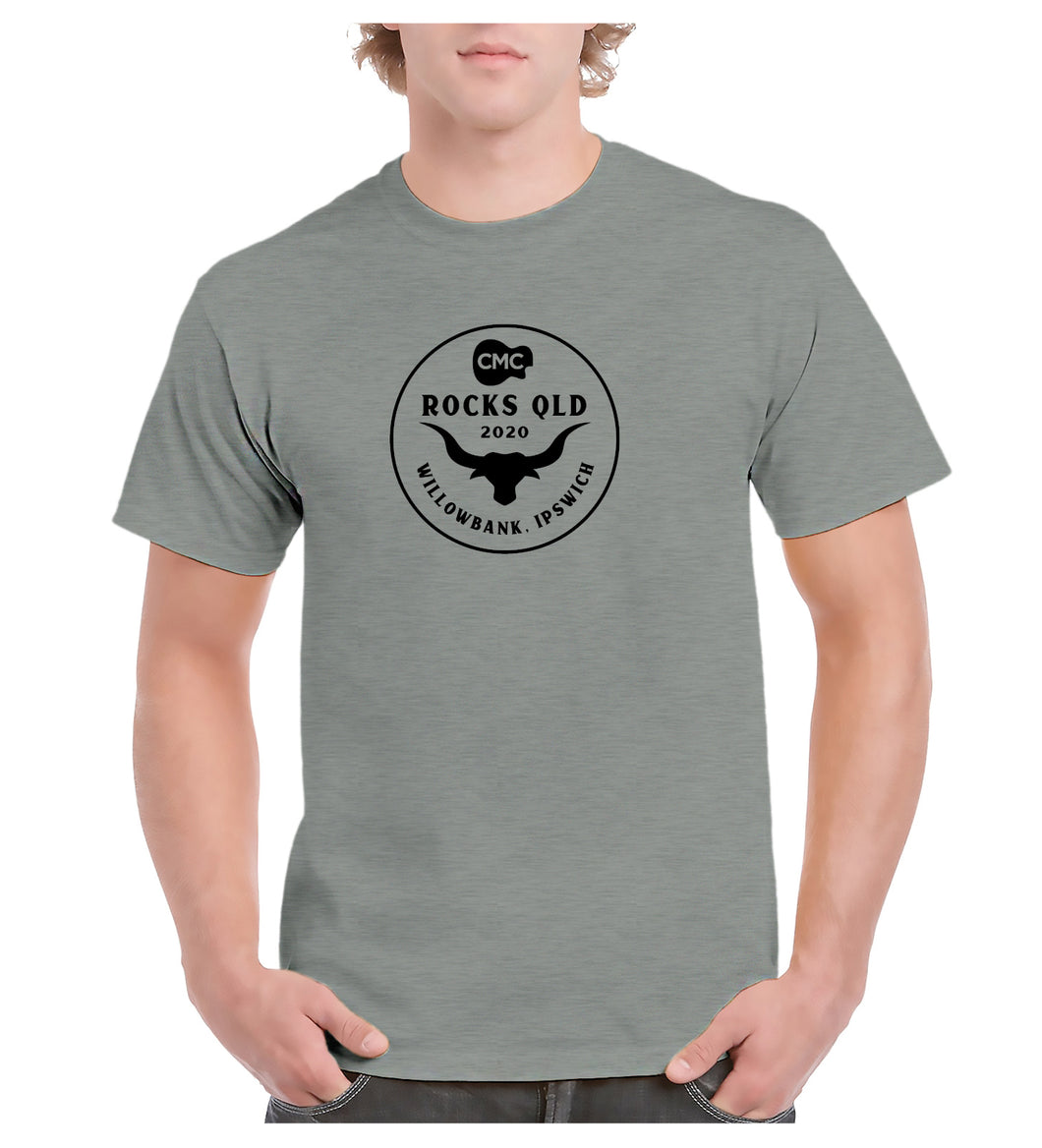 Men's Bull Horn Circle T- Shirt - Grey Marle