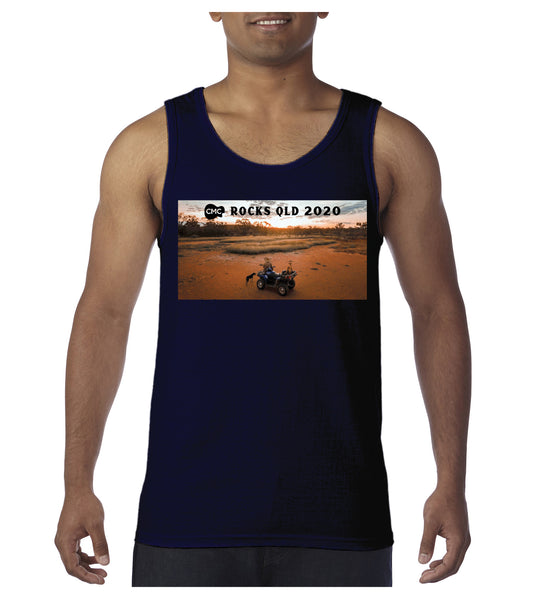 Men's Sunset Photo Singlet - Navy