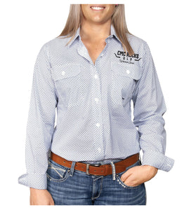 Women's Work Shirt - Patterned White