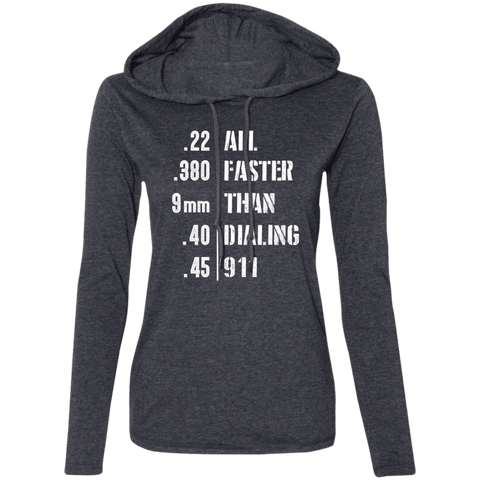 Easier Then 911 Ladies' LS T-Shirt Hoodie