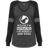 Horses & Dogs Ladies' Game LS V-Neck T-Shirt