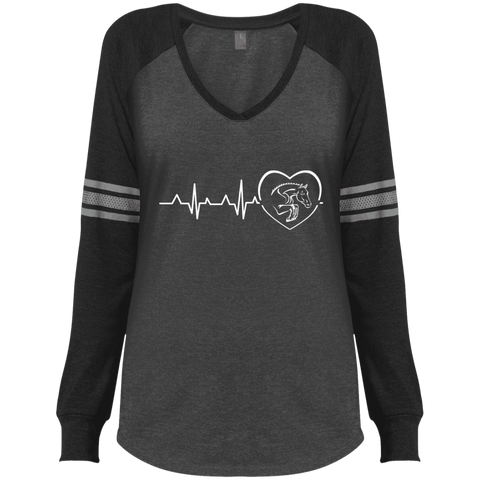 Jumping Heartbeat Ladies' Game LS V-Neck T-Shirt
