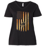 Flag Horse  Ladies' Curvy V-Neck T-Shirt