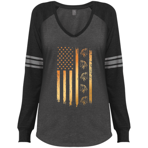Flag Horse Ladies' Game LS V-Neck T-Shirt