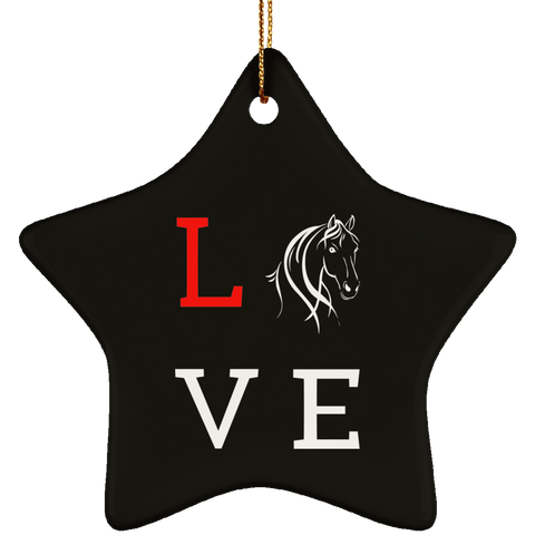 Love Horses Ceramic Star Ornament