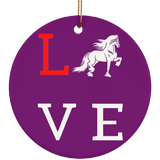 Love Friesians Ceramic Circle Ornament