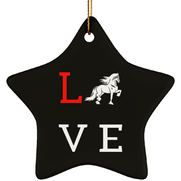 Love Friesians Ceramic Star Ornament