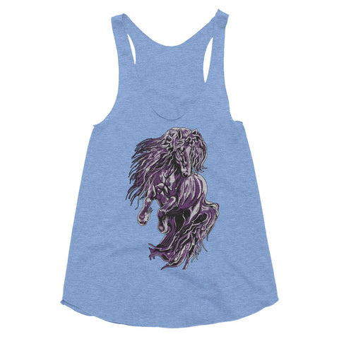 Fire & Ice Friesian Women's Tri-Blend Racerback Tank