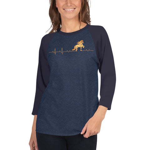 Friesian Heartbeat 3/4 sleeve Raglon Shirt Unisex