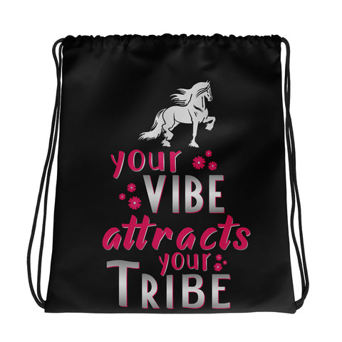 Your Vibe Attracts Your Vibe Drawstring bag