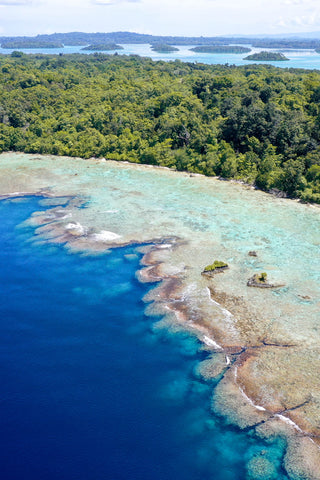 Drone photo of the blue coral drop-offs in Munda