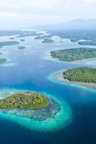 Tropical archipelago from above in the Solomon Islands
