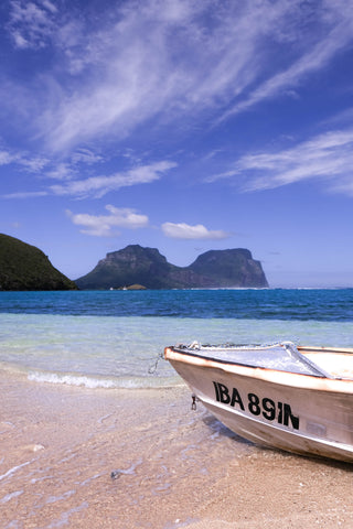 Boat moored at North Beach in Lord Howe Island