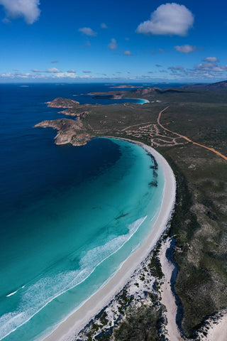 Drone shot from above Lucky Bay, including the campsite