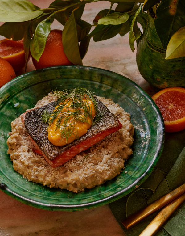 Sunflower Seed Risotto with Salmon & Citrus Sauce