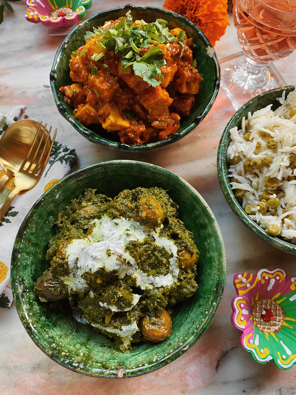 Diwali Greens with Baby Potatoes (Saag Aloo)