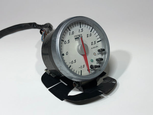 JDM HKS Power Turbo Boost Gauge White