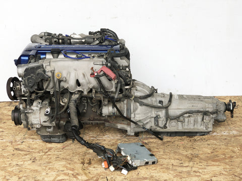 JDM Toyota Aristo Twin Turbo Front Sump VVTi 2JZ-GTE Engine Motor Auto Trans ECU Blue Top
