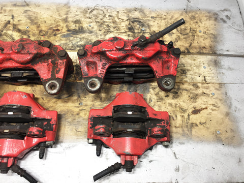 JDM OEM 02-07 Subaru Impreza WRX / 03-05 Forester XT Front & Rear Brake Calipers 4 & 2 Pot W/ Rear Spindle Hub Knuckles LH & RH