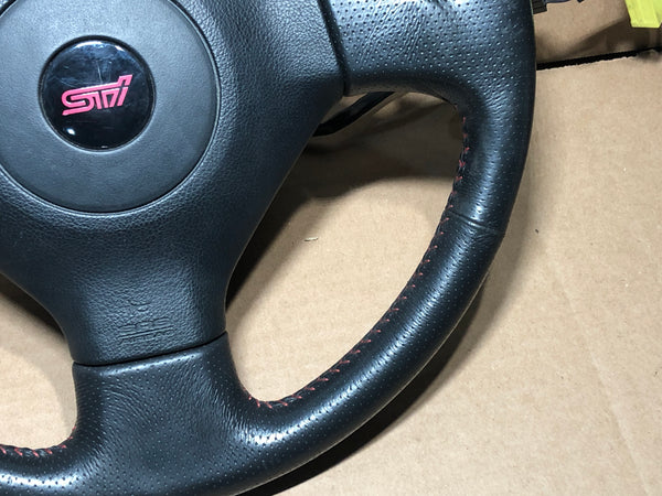 JDM 04-07 Subaru Impreza WRX STI Red Stitch GD V8 Genuine OEM Steering Wheel