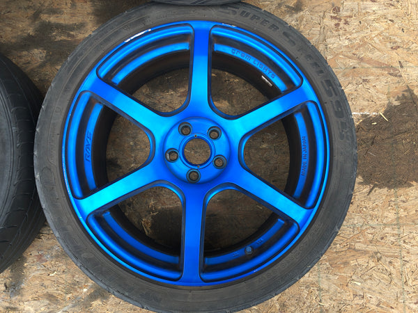JDM Rays Gram Lights Marine Blue 57C6 Wheels 18x7.5 5x100 Lightweight Rims USED