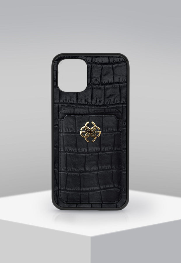 IPHONE CASE - LEATHER WALLET BLK/GOLD-GOLDEN CONCEPT-principeprive