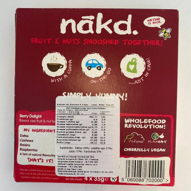 Barra de cereal Nakd Berry Delight Pack 4 unidades