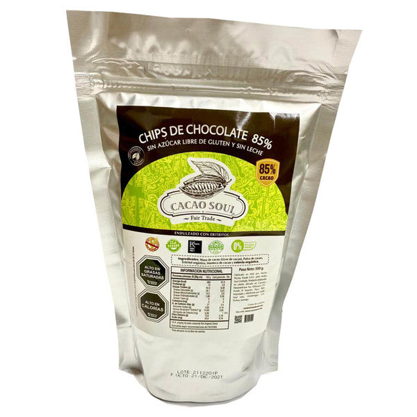 Chips chocolate 85% cacao sin azúcar 500gr.