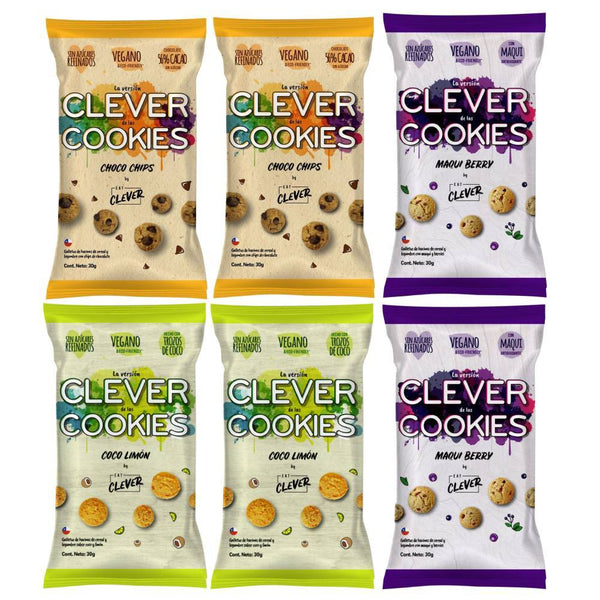 Pack mix de 6 galletas clever cookies, 2 de cada sabor