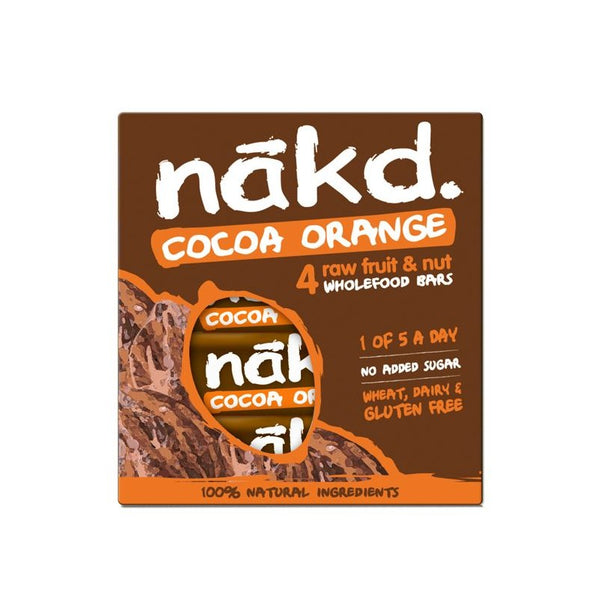 Barra de cereal Nakd Cocoa Orange Pack 4 unidades