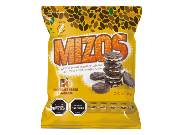Mizos Galleta de arroz Chocolate negro y Naranja 25 grs