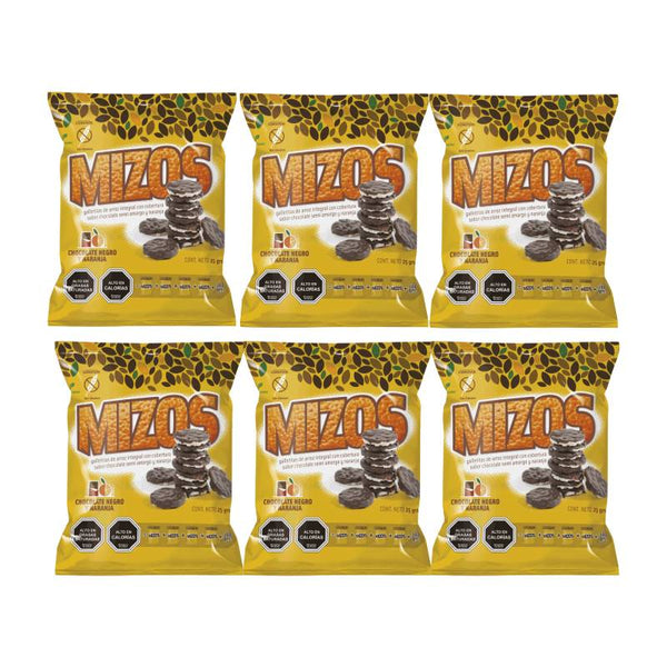 Pack 6 Mizos Galleta de arroz Chocolate negro y Naranja 25 grs
