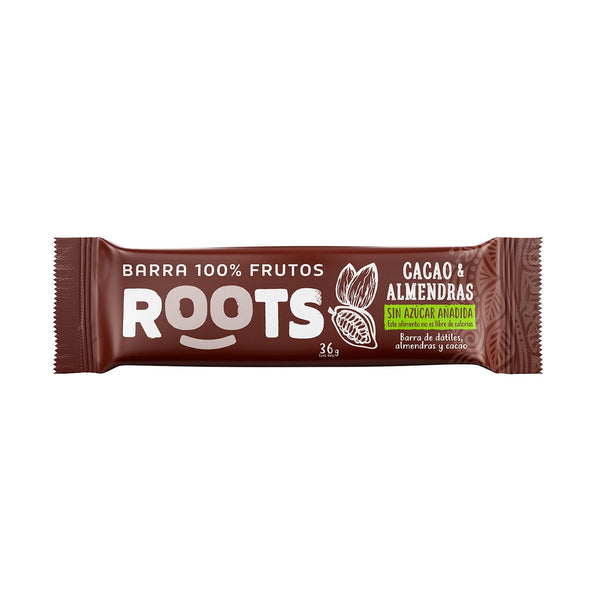 Barra 100% Frutos Roots Cacao Almendras 36 grs