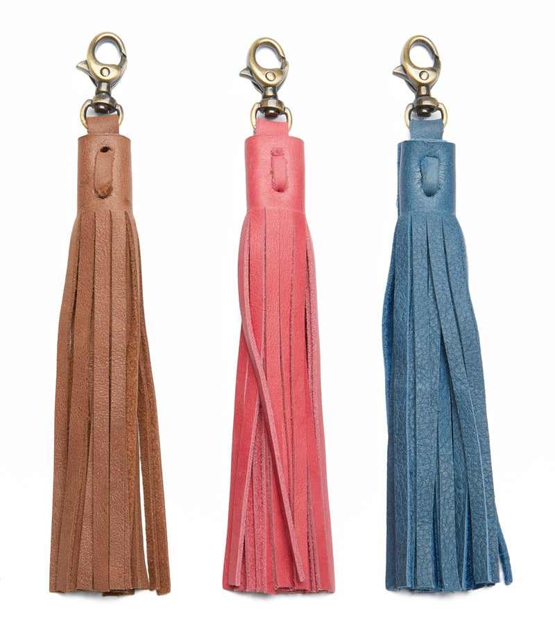 Brown, Pink, and Blue Leather Tassels - White Background