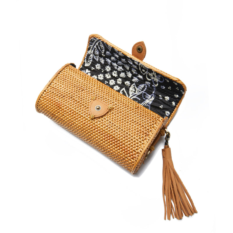 Wicker Purse with Brown Tassel - White Background