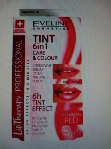 EVELINE LIP THERAPY TINT CARE & COLOUR 6IN1 INTENSIVE LIP COLOUR SERUM STAIN RED