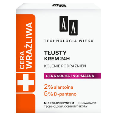 AA Age technology Sensitive skin cream that soothes irritations Tlusty krem