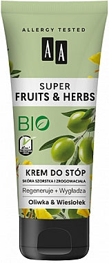 AA Cosmetics Super Fruits & Herbs foot cream Olive and primrose krem do stop