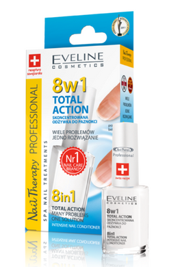 Eveline 8in1 Nail Conditioner Total Action Serum Nails Strengthener 8 in 1 12ml