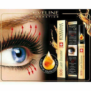 EVELINE SOS LASH BOOSTER MULTIPURPOSE EYELASH SERUM WITH ARGAN OIL 5 IN 1