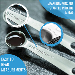 Stainless Steel Measuring Cups and Spoons Set - 7 Cups and 7 Spoons Set of 16 - KPKitchen