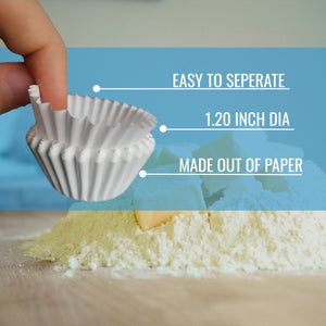 White Mini Cupcake Liners - 300-Pack - KPKitchen
