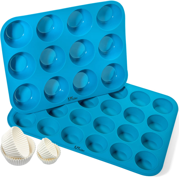 Silicone Muffin Pan & Mini Cupcake Pan Set - 12 & 24 Cup Sizes - KPKitchen