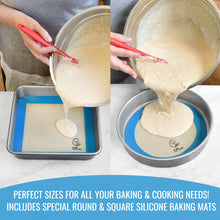 Load image into Gallery viewer, Silicone Baking Mats Set of 5 - 2 Half Sheet Mats + 1 Quarter Sheet Mat + 1 Round & 1 Square Mat - KPKitchen