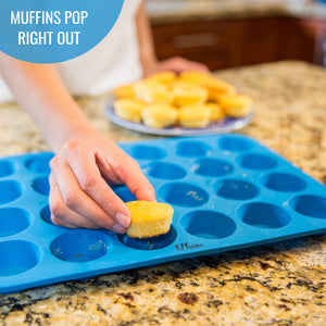 Silicone Mini Muffin & Cupcake Baking Pan 24 Cup