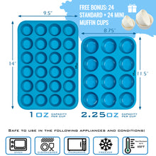 Load image into Gallery viewer, Silicone Muffin Pan & Mini Cupcake Pan Set - Silicon Muffin Pan 12 & 24 Mini Muffin Tin Cup Sizes
