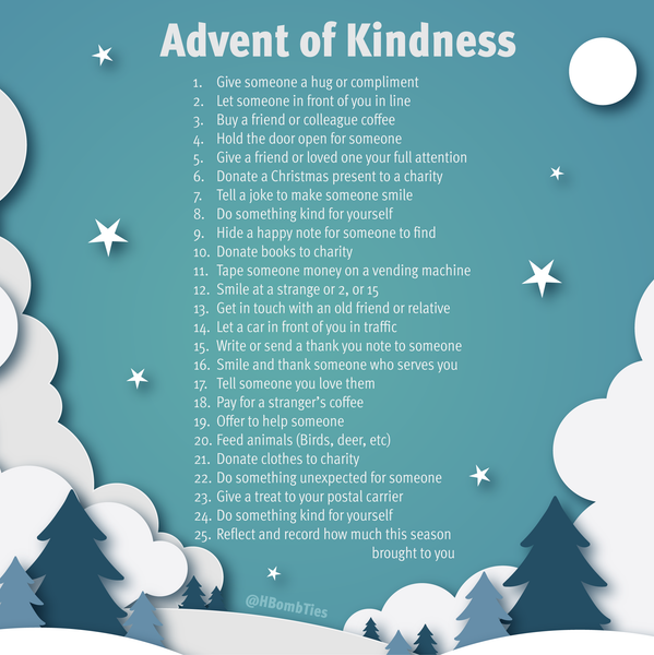Advent Calendar of Kindness Graphic from H-Bomb Ties