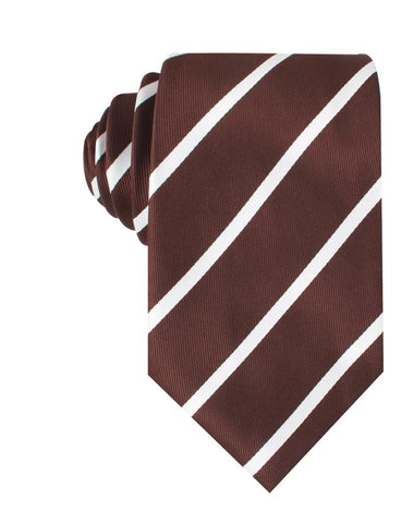 brown and white striped neck tie